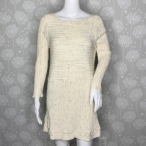 Anthropologie Moth Sweater Dress Size Large Cream